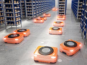 AMRs on Automated Warehouse Floor